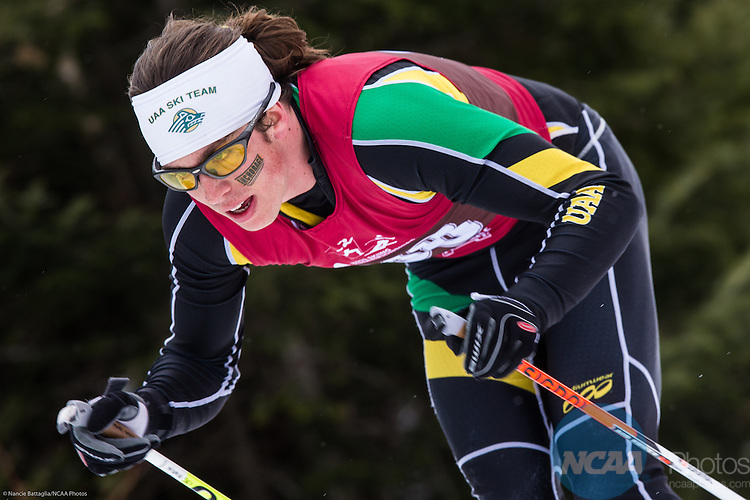13 March 2015: Alex Mahoney, Univ of Alaska Anchorage, competes in NCAA Division 1 Skiing Championship held at Mt. VanHoevenberg, Lake Placid, NY, Men's Classic 20k race. Nancie Battaglia/NCAA Photos