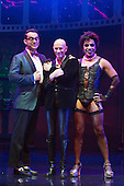 London, UK. 15 September 2015. L-R: Ben Forster (Brad), Richard O'Brien (narrator) and David Bedella (Frank'n'Furter). The Rocky Horror Show, written and starring Richard O'Brien, returns to the West End for a limited run at the Playhouse theatre from 11 September 2015. The Rocky Horror Show Gala Performance on 17 September will be broadcast live to cinemas across the UK and Europe. With Richard O'Brien as Narrator, David Bedella as Frank'n'furter, Ben Forster as Brad, Haley Flaherty as Janet and Dominic Andersen as Rocky. Photo: Bettina Strenske