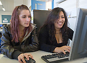 English as a Foreign Language students in the IT Suite , Further Education College.