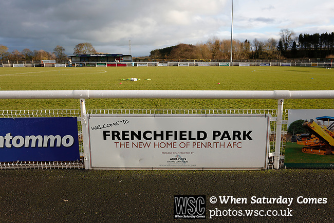 Welcome to Frenchfield Park sign. Penrith AFC V Hebburn Town, Northern League Division One, 22nd December 2018. Penrith are the only Cumbrian team in the Northern League. All the other teams are based across the Pennines in the north east.<br /> Penrith, winless at kick off, lost a thriller 3-4, in front of 100 people. They won five games all season, but were reprieved from relegation following Blyth's resignation from the league.