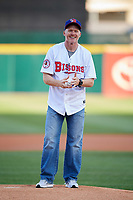 Buffalo Bills head coach Sean McDermott gets ready to throw out the ceremonial first pitch before a game between the Pawtucket Red Sox and Buffalo Bisons on May 19, 2017 at Coca-Cola Field in Buffalo, New York.  Buffalo defeated Pawtucket 7-5 in thirteen innings.  (Mike Janes/Four Seam Images)