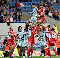 Oxford, England. Kirill Kulemin of London Welsh wins the line out during the Aviva Premiership match between London Welsh  and Leicester Tigers at Kassam Stadium on September 2, 2012 in Oxford, England.