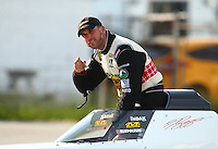 Sep 4, 2016; Clermont, IN, USA; NHRA top fuel driver T.J. Zizzo during qualifying for the US Nationals at Lucas Oil Raceway. Mandatory Credit: Mark J. Rebilas-USA TODAY Sports
