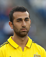 Columbus Crew midfielder Justin Meram (9). In a Major League Soccer (MLS) match, the New England Revolution tied the Columbus Crew, 0-0, at Gillette Stadium on June 16, 2012.