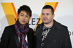 """April 21, 2016, Tokyo, Japan - Louis Vuitton men's artistic director Kim Jones (R) smiles with Japanese actor Takeru Sato during a photo call for the reception of Louis Vuitton's art exhibition in Tokyo on Thursday, April 21, 2016. French luxury barnd Luis Vuitton will hold the exhibition """"Volez, Voguez, Voyagez"""" in Tokyo from April 23 through June 19.  (Photo by Yoshio Tsunoda/AFLO) LWX -ytd-"""
