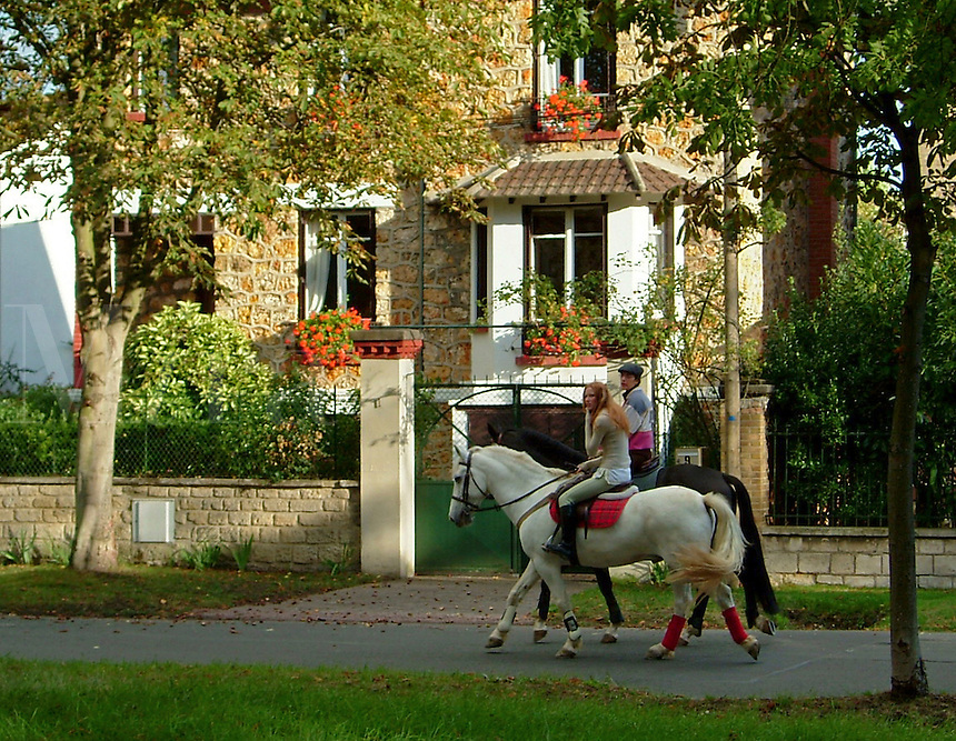 Horseback riding in Maison Lafitte, a wealthy suburb of Paris, France