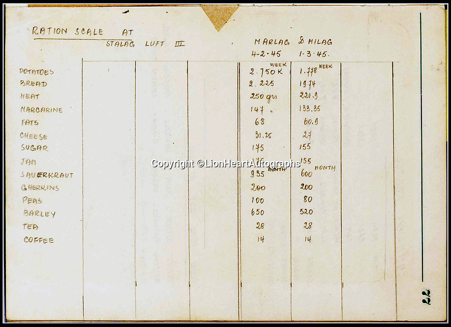 BNPS.co.uk (01202 558833)<br /> Pic:   LionHeartAutographs/BNPS<br /> <br /> A list of camp rations and the contents of packages sent by various countries' aid agencies, including the British Red Cross.<br /> <br /> A remarkable diary kept by a POW in the Great Escape camp which includes a tribute to the 50 men executed in its reprisals has come to light.<br /> <br /> British RAF officer Joseph Gueuffen, of 609 Squadron, was shot down during a bombing raid over Germany and held captive at Stalag Luft III from late 1943 until the end of the war.<br /> <br /> The Belgian born pilot was kept in Block 109, a barrack which played an integral part in the mass escape of prisoners on March 24, 1944.<br /> <br /> The diary boasts a list of the officers executed by the Nazis following their recapture and a drawing of the permanent memorial for them by Belgian RAF pilot Bobby Laumans.