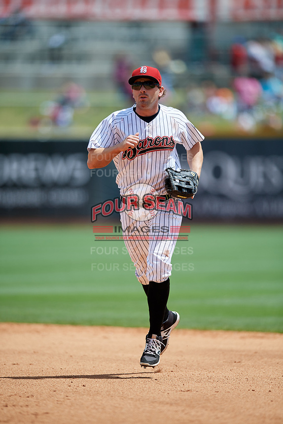 Birmingham Barons center fielder Hunter Jones (29) jogs back to the dugout during a game against the Jacksonville Jumbo Shrimp on April 24, 2017 at Regions Field in Birmingham, Alabama.  Jacksonville defeated Birmingham 4-1.  (Mike Janes/Four Seam Images)