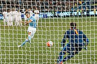 Melbourne, 21 July 2015 - Jesús Navas of Manchester City kicks a goal past Bogdan Lobonţ of AS Roma during the penalty shoot out in game two of the International Champions Cup match at the Melbourne Cricket Ground, Australia. City def Roma 5-4 in Penalties. (Photo Sydney Low / AsteriskImages.com)