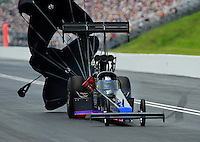 Jun. 18, 2011; Bristol, TN, USA: NHRA top fuel dragster driver Pat Dakin during qualifying for the Thunder Valley Nationals at Bristol Dragway. Mandatory Credit: Mark J. Rebilas-