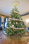 """The 2016 White House Christmas decorations are previewed for the press at the White House in Washington, DC on Tuesday, November 29, 2016. Pictured is the Official White House Christmas Tree in the Blue Room. The first lady's office released the following statement to describe those decorations, """"This year's holiday theme, 'The Gift of the Holidays,' reflects on not only the joy of giving and receiving, but also the true gifts of life, such as service, friends and family, education, and good health, as we celebrate the holiday season.""""<br /> Credit: Ron Sachs / CNP"""