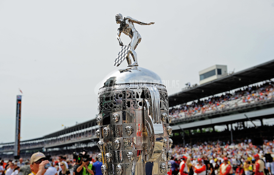 May 24, 2009; Indianapolis, IN, USA; Detailed view of the Borg Warner Trophy prior to the 93rd running of the Indianapolis 500 at Indianapolis Motor Speedway.  Mandatory Credit: Mark J. Rebilas-