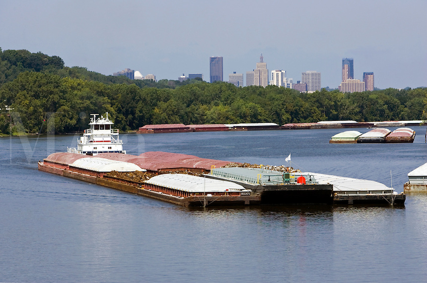 Towboat pushing barges down Mississippi River