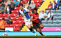 Blackburn Rovers' Sam Gallagher dodges Barnsley's Saidy Janko<br /> <br /> Photographer Rachel Holborn/CameraSport<br /> <br /> The EFL Sky Bet Championship - Blackburn Rovers v Barnsley - Saturday 8th April 2017 - Ewood Park - Blackburn<br /> <br /> World Copyright &copy; 2017 CameraSport. All rights reserved. 43 Linden Ave. Countesthorpe. Leicester. England. LE8 5PG - Tel: +44 (0) 116 277 4147 - admin@camerasport.com - www.camerasport.com