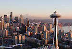 Seattle, Space Needle, Mount Rainier, Elliott Bay, Aerial, Business District, Washington State, Pacific Northwest, North America, sunset,