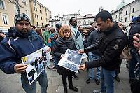 PRESIDIO IN DIFESA DEI MIGRANTI NELLA FOTO PRESIDIO CRONACA BRESCIA 24/03/2015 FOTO MATTEO BIATTA