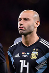 Javier Mascherano of Argentina getting into the field during the International Friendly 2018 match between Spain and Argentina at Wanda Metropolitano Stadium on 27 March 2018 in Madrid, Spain. Photo by Diego Souto / Power Sport Images