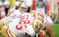 Sept. 13, 2009; Glendale, AZ, USA; San Francisco 49ers quarterback (13) Shaun Hill prepares to take the snap in the second quarter against the Arizona Cardinals at University of Phoenix Stadium. Mandatory Credit: Mark J. Rebilas-