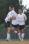 Palos Verdes, CA 02/07/12 - Daniel Razipour (Peninsula #17), Oscar Chacon (Peninsula #8) and Scott Barnes (Peninsula #16) in action during the Mira Costa vs Peninsula Boys Varsity soccer bay league game.