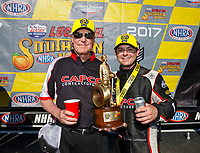 May 7, 2017; Commerce, GA, USA; NHRA top fuel driver Steve Torrence (right) celebrates with crew chief Richard Hogan after winning the Southern Nationals at Atlanta Dragway. Mandatory Credit: Mark J. Rebilas-USA TODAY Sports