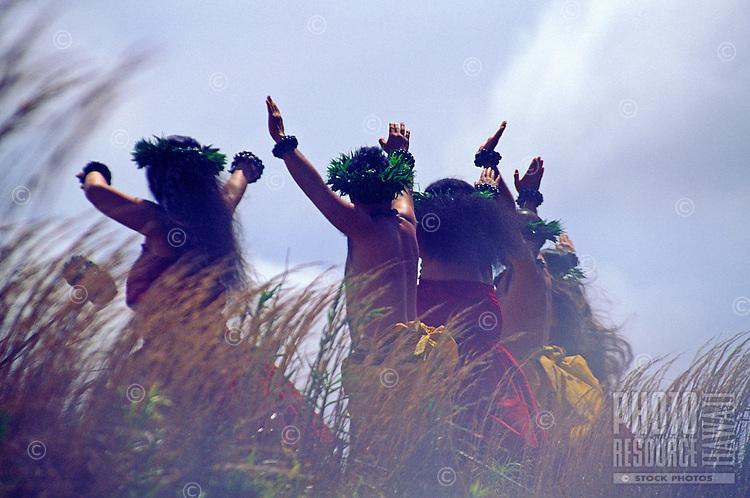 Kahiko ( ancient style ) hula dancers at Hawaii Volcanoes national park, Big island of Hawaii