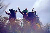 Kahiko ( ancient style ) hula dancers at Hawaii Volcanoes national park, Big island of Hawaii
