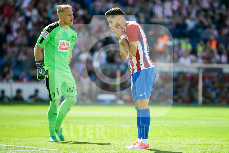 Atletico de Madrid's Yannick Carrasco and SD Eibar's Yoel Rodriguez during Liga Liga match between Atletico de Madrid and SD Eibar at Vicente Calderon Stadium in Madrid, May 06, 2017. Spain.<br /> (ALTERPHOTOS/BorjaB.Hojas)