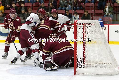 Julius Mattila (BC - 26), Ty Pelton-Byce (Harvard - 11), Luke McInnis (BC - 3), Jake Horton (Harvard - 19), Joe Woll (BC - 31) - The Harvard University Crimson defeated the visiting Boston College Eagles 5-2 on Friday, November 18, 2016, at the Bright-Landry Hockey Center in Boston, Massachusetts.