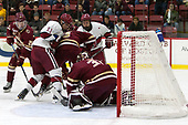 Julius Mattila (BC - 26), Ty Pelton-Byce (Harvard - 11), Luke McInnis (BC - 3), Jake Horton (Harvard - 19), Joe Woll (BC - 31) - The Harvard University Crimson defeated the visiting Boston College Eagles 5-2 on Friday, November 18, 2016, at the Bright-Landry Hockey Center in Boston, Massachusetts.