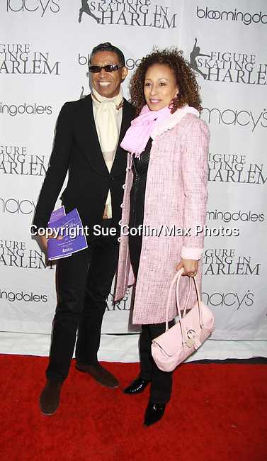 As The World Turns Tamara Tunie (Law and Order SVU) poses with fashion designer B Michael at the 2012 Skating with the Stars - a benefit gala for Figure Skating in Harlem celebrating 15 years on April 2, 2012 at Central Park's Wollman Rink, New York City, New York.  (Photo by Sue Coflin/Max Photos)