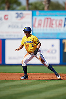 Michigan Wolverines center fielder Jonathan Engelmann (2) leads off second base during a game against Army West Point on February 17, 2018 at Tradition Field in St. Lucie, Florida.  Army defeated Michigan 4-3.  (Mike Janes/Four Seam Images)