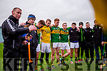 Ciaran Carey talks to his Kerry team after their clash with Limerick in the Munster cup clash  in the Gaelic Grounds on Sunday