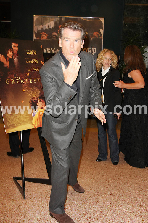 **ALL ROUND PICTURES FROM SOLARPIX.COM**.**SYNDICATION RIGHTS FOR UK, AUSTRALIA, DENMARK, PORTUGAL, S. AFRICA, SPAIN & DUBAI.The Greatest, Los Angeles Premiere - Arrivals, Linwood Dunn Theater at the Pickford Center for Motion Study / Los Angeles, CA, USA 25 March 2010.This pic: Pierce Brosnan.JOB REF: 10988    PHZ bohdi DATE: 25_03_2010.**MUST CREDIT SOLARPIX.COM OR DOUBLE FEE WILL BE CHARGED**.**MUST NOTIFY SOLARPIX OF ONLINE USAGE**.**CALL US ON: +34 952 811 768 or LOW RATE FROM UK 0844 617 7637**