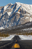 Center line of the James Dalton Highway with Mount Sukakpak in the distance.