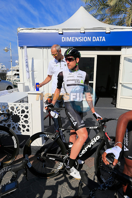 Matt Brameier (IRL) Dimension Data before the start of Stage 1, the Dubai Silicon Oasis Stage, of the 2016 Dubai Tour starting at the Dubai International Marine Club and running 175km to Fujairah, Mina Seyahi, Dubai, United Arab Emirates. 3rd February 2016.<br /> Picture: Eoin Clarke | Newsfile<br /> <br /> <br /> All photos usage must carry mandatory copyright credit (&copy; Newsfile | Eoin Clarke)