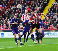 Sheffield United's Jack O'Connell scores his sides equalising goal to make the score 1-1<br /> <br /> Photographer Chris Vaughan/CameraSport<br /> <br /> The EFL Sky Bet League One - Sheffield United v Charlton Athletic - Saturday 18th March 2017 - Bramall Lane - Sheffield<br /> <br /> World Copyright &copy; 2017 CameraSport. All rights reserved. 43 Linden Ave. Countesthorpe. Leicester. England. LE8 5PG - Tel: +44 (0) 116 277 4147 - admin@camerasport.com - www.camerasport.com