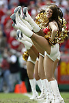 31 October 2004: Chiefs' Cheerleaders highstep it after a K.C. touchdown tied the game 7-7 in the first quarter. The Kansas City Chiefs defeated the Indianapolis Colts 45-35 at Arrowhead Stadium in Kansas City, MO in a regular season National Football League game..