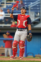 State College Spikes catcher Jeremy Martinez (41) during a game against the Batavia Muckdogs on June 23, 2016 at Dwyer Stadium in Batavia, New York.  State College defeated Batavia 8-4.  (Mike Janes/Four Seam Images)
