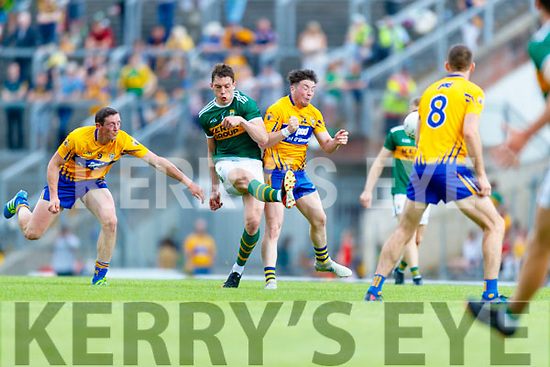 David Moran Kerry in action against Keelan Sexton Clare during the Munster GAA Football Senior Championship semi-final match between Kerry and Clare at Fitzgerald Stadium in Killarney on Sunday.