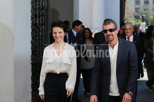 Presiden of Chile Sebastian Pinera receives in La Moneda presidential palace actor Antonio Bandera and Juliette Binoche, who will star a movie The 33, on the story of the 33 miners trapped in a mine in the North of Chile and rescued alive in 2010. Among the actors where some of the real life miners, who will assist the stars about how they got to survive