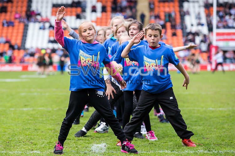 Picture by Alex Whitehead/SWpix.com - 24/05/2015 - Rugby League - Kingstone Press Championship Summer Bash - Doncaster RLFC v Hunslet Hawks - Bloomfield Road, Blackpool, England - dancers.