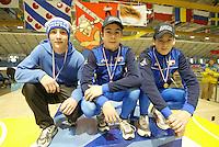 SCHAATSEN: HEERENVEEN: IJsstadion Thialf, 13-03-2004, VikingRace, Richter (GER), Danielle Berlanda (ITA), Jan Daldossi (ITA), ©foto Martin de Jong