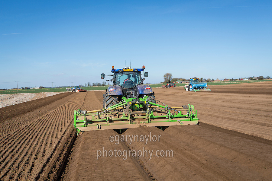 Cultivating potato seed bed with AVR G Force rotary cultivator - Aprl; Lincolnshire