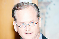 "Harvard Law professor and Democratic presidential candidate Lawrence Lessig speaks at a meeting of the Salem Democrats at The Colosseum Restaurant in Salem, NH. This campaign event was Lessig's first visit to New Hampshire, though he had not yet raised the $1 million he wanted to raise before officially declaring his candidacy. The following week, Lessig raised the money and declared his candidacy. Lessig is running an unusual campaign, calling himself a ""referendum candidate."" He has said his campaign will focus on a single issue, The Citizen Equality Act, which would reform campaign financing, gerrymandering, and access to voting. Lessig has pledged that, if elected, once the Citizen Equality Act becomes law, he will immediately resign and turn the presidency over to his vice president."