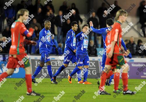 2011-03-05 / Voetbal / seizoen 2010-2011 / KV Turnhout - KV Oostende / Kevin Janssens scoorde de 1-0 ..Foto: Mpics
