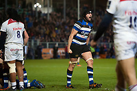 Elliott Stooke of Bath Rugby celebrates a penalty try after a strong scrum. Anglo-Welsh Cup match, between Bath Rugby and Leicester Tigers on November 10, 2017 at the Recreation Ground in Bath, England. Photo by: Patrick Khachfe / Onside Images