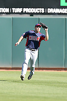 Chad Huffman of the Cleveland Indians plays against the Oakland Athletics in a spring training game at Phoenix Municipal Stadium on March 2, 2011  in Phoenix, Arizona. .Photo by:  Bill Mitchell/Four Seam Images.