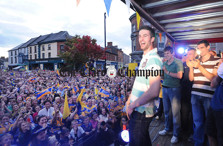 Clare fans give Darach Honan a warm welcome at the Clare U-21 homecoming celebrations. Photograph by Declan Monaghan