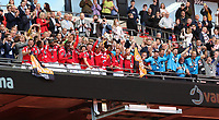 Salford City lift the trophy after the during AFC Fylde vs Salford City, Vanarama National League Play-Off Final Football at Wembley Stadium on 11th May 2019