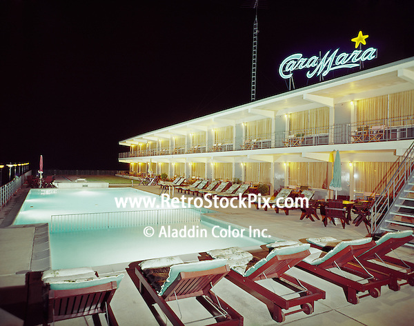 Cara Mara Motel Wildwood, NJ.<br /> Night pool with Neon sign.
